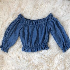 Chambray off the shoulder crop top